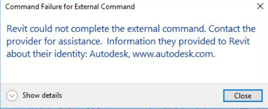 """在Revit中导入或导出Fabrication MAJ作业文件时出现错误:""""外部命令的命令失败"""""""