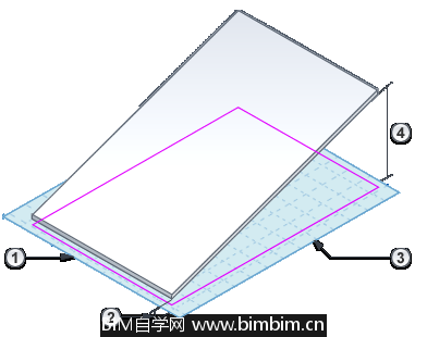 [Revit教程]使用平行绘制线创建斜表面