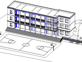 revit模型-三层小建筑模型