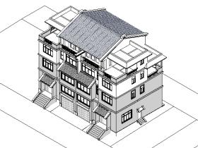 revit模型-联排别墅模型
