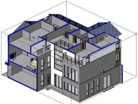 设置Revit剖切框显示与隐藏,三维视图和局部剖切框中进行切换